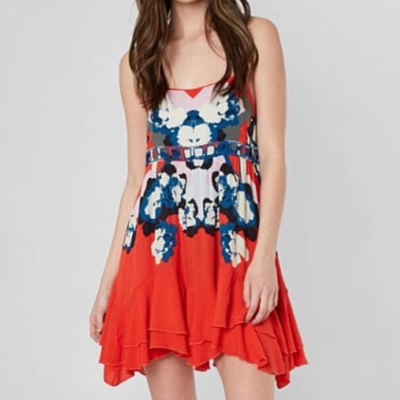 Free People Dresses & Skirts - Free People red blue floral backless sundress sz L